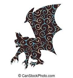 Gargoyle Chimera pattern silhouette ancient mythology...