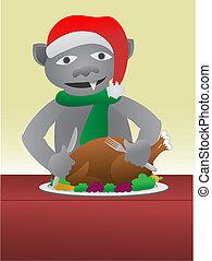 Gargoyle eating turkey dinner wearing a santa hat