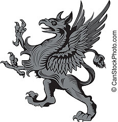 gargoyle, grifon, heraldisch, illustratie, vector, of