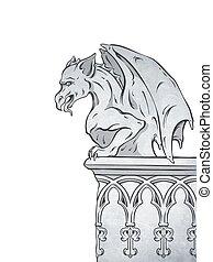 Gargoyle hand drawn vector illustration - Gothic gargoyle...