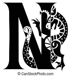 gargoyle, hoofdletter, n