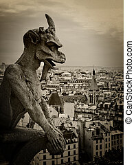 Gargoyle of Notre Dame - Grain added to create a vintage...
