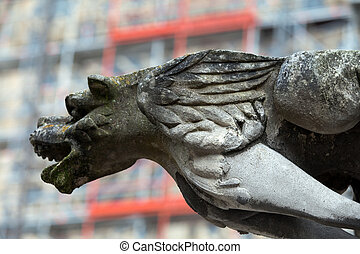 Gargoyle on Gothic cathedral of Saint Gatien in Tours, Loire...