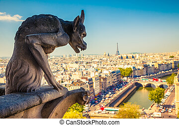 Gargoyle on Notre Dame Cathedral, Paris, France