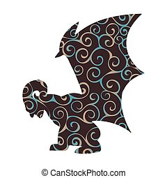 Gargoyle pattern silhouette ancient traditional symbol....