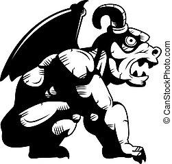 Gargoyle Perched - A black and white gargoyle illustration.