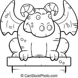 Gargoyle Perched - A cartoon stone gargoyle monster perched.