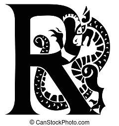 gargoyle, r, letra, capital