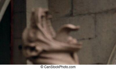 Gargoyle statue near tsar's palace (Massandra, Crimea,...