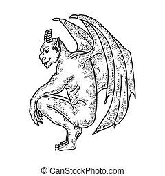 Gargoyle statue sketch engraving vector illustration. T-shirt apparel print design. Scratch board imitation. Black and white hand drawn image.