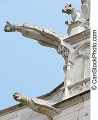 Gargoyles on a church in France