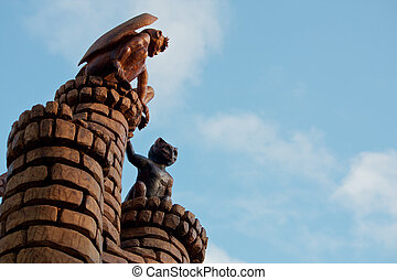 Gargoyles on Castle turrets - Two gargoyes sit perched on...
