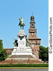 Statue of Garibaldi in front of the Castelo Sforzesco Castle in Milan, Italy