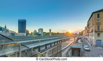 Garibaldi train station at sunset timelapse in Milan, Italy....
