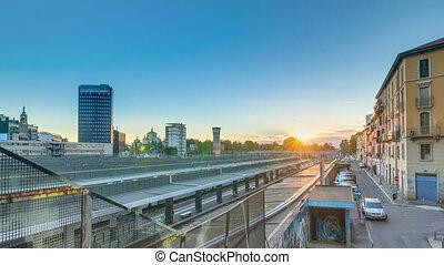 Garibaldi train station at sunset timelapse in Milan, Italy
