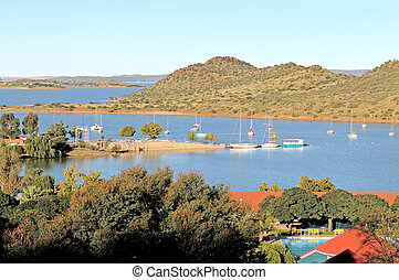 Gariep dam harbor - Harbor of the Gariep dam in South Africa...