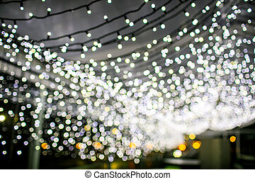 garland., 抽象的, lights., bokeh, 背景, クリスマス