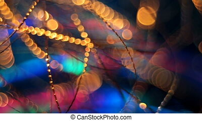 garland., arrière-plan., résumé, decoration., arbre, clignotant, brouillé, lumières, bokeh, année, nouveau, vacances, noël, twinkling.