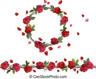 garland., bloeien, patttern, roses., tak, borstel, ronde,...