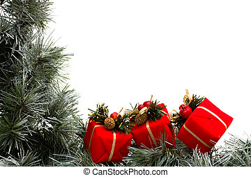 A green garland border with Christmas presents isolated on a white background, garland border