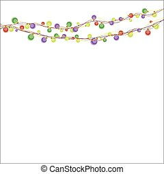 Garland color lights on the white. Vector.