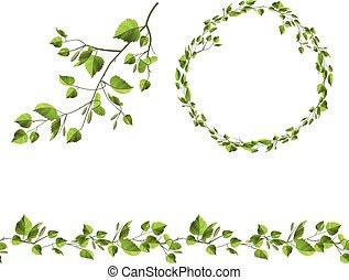 garland., fa, leaves., patttern, zöld, elágazik, ecset, ...