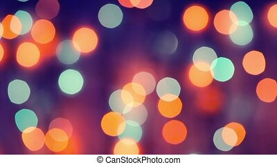 Garland glittering lights, a real shot video in the blur -...