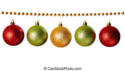 Garland - Gold beads garland with balls isolated on white ...