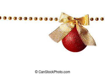Garland - Gold beads garland with bow and ball isolated on ...