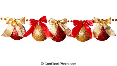 Garland - Gold beads garland with bow and balls isolated on ...