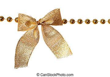 Garland - Gold beads garland with bow isolated on white ...