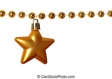Garland - Gold beads garland with star isolated on white ...