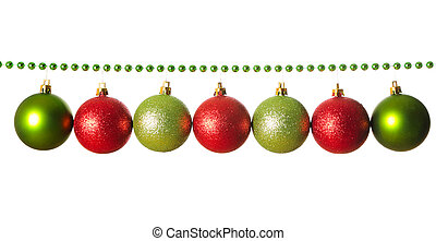 Green beads garland with balls isolated on white background
