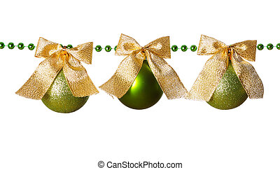 Green beads garland with bow and ball isolated on white background