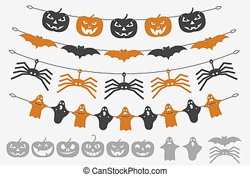 Garland Halloween. The laser cutting. Festive decoration for...