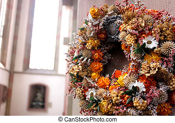 garland in a church