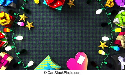 Garland Lights and Colorful Gift Boxes. Loop able 3DCG...