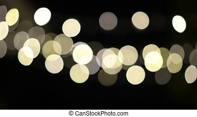 Garland lights bokeh blurs blinking