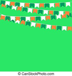 garland of flags in colors of Ireland