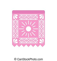 garland of pink color with sun on white background