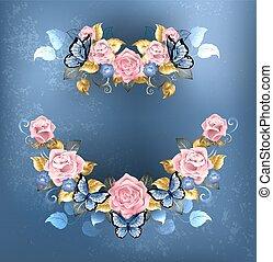 garland of pink roses