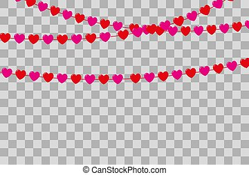 Garland of red and pink hearts on a transparent background. Valentines day, weddings and other saints. Vector