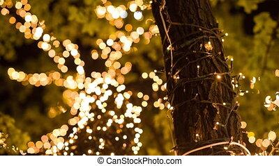 garland on a Christmas tree