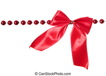 Garland - Red beads garland with bow isolated on white ...