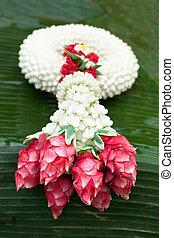 Garland Thailand Style Design on bannana leaf