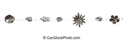 Garland with different beads isolated on white background