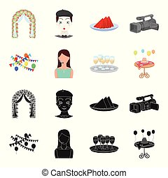 Garland with flags and balls, leading celebration with a microphone, a tray with glasses with champagne, a table covered with a tablecloth with plates, cake and balls. Event services set collection icons in black,cartoon style vector symbol stock illustration web.