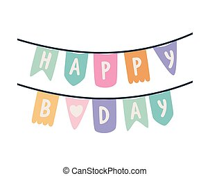 garland with happy birthday lettering