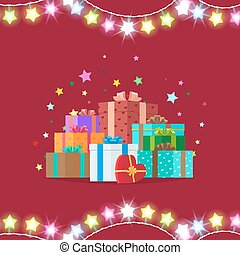 Garlands and Giftboxes on Vector Illustration