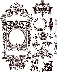 Garlands and swags ornament design elements